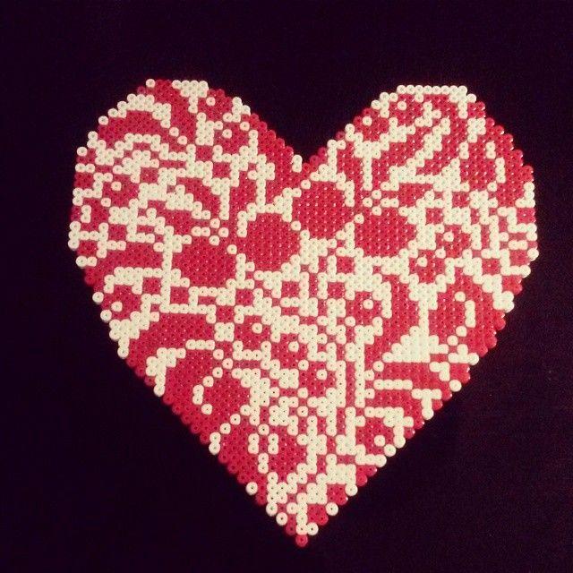 Heart hama perler beads by trine.tf