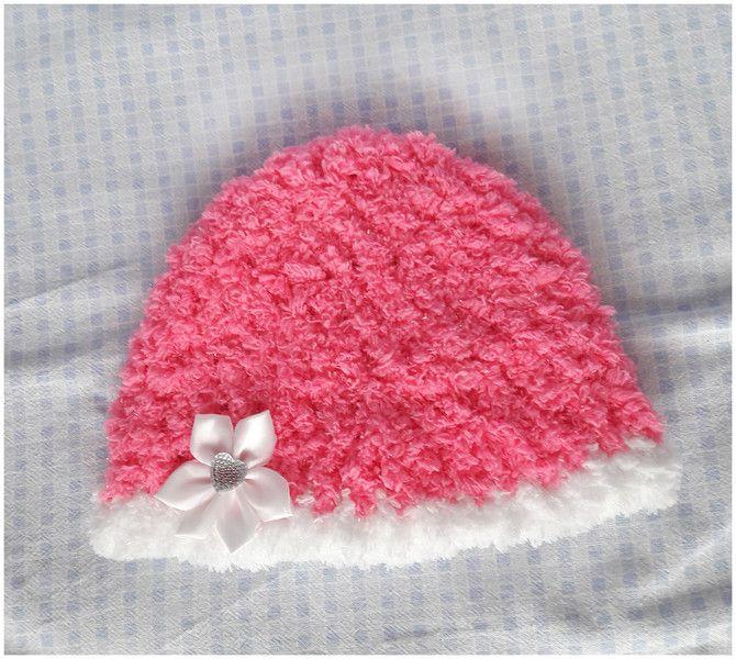 Czapeczka różowy puszek - Fantazja-handmade - Czapki dla dzieci