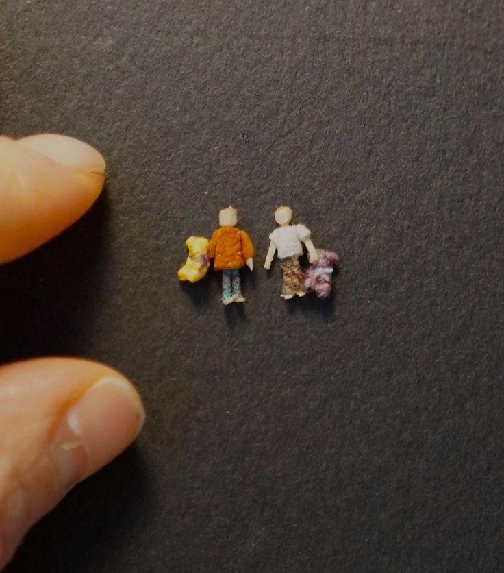 Miniature boys with teady bears, OOAK by TheHouseOfTiny on Etsy