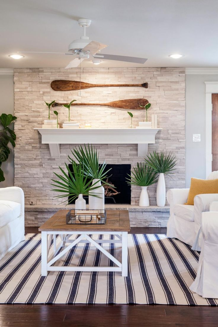 Fixer Upper: A Coastal Makeover For A 1971 Ranch House. Beach  FireplaceStone Fireplace DecorWhite ...