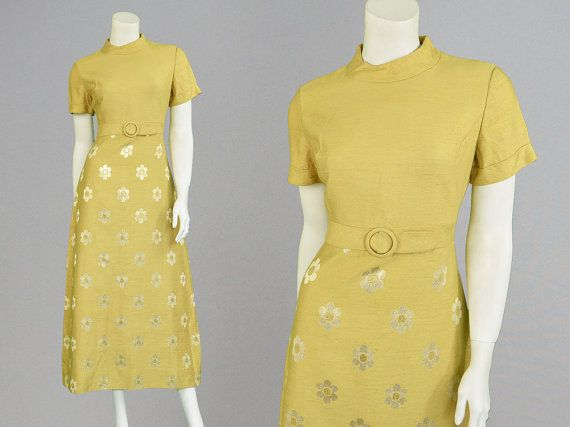 Vintage 60s Mod Evening Dress Gold & Silver Party by ZeusVintage