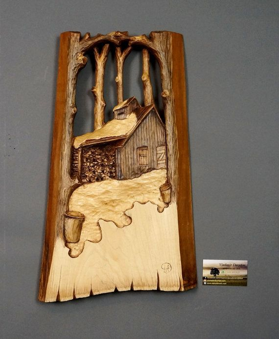 Sugar Shack carved,Woden anniversary gift,souvenir from Québec and Canada,wood carving, art of wood,unique carving by Vladimir Davydov, OOAK