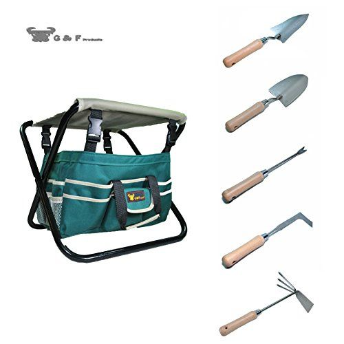 7 Piece AllInOne Garden Tool SetHeavy Duty Folding Stool detachable Canvas Tool Bag and Heavy Duty Steel Tools -- More info could be found at the image url.