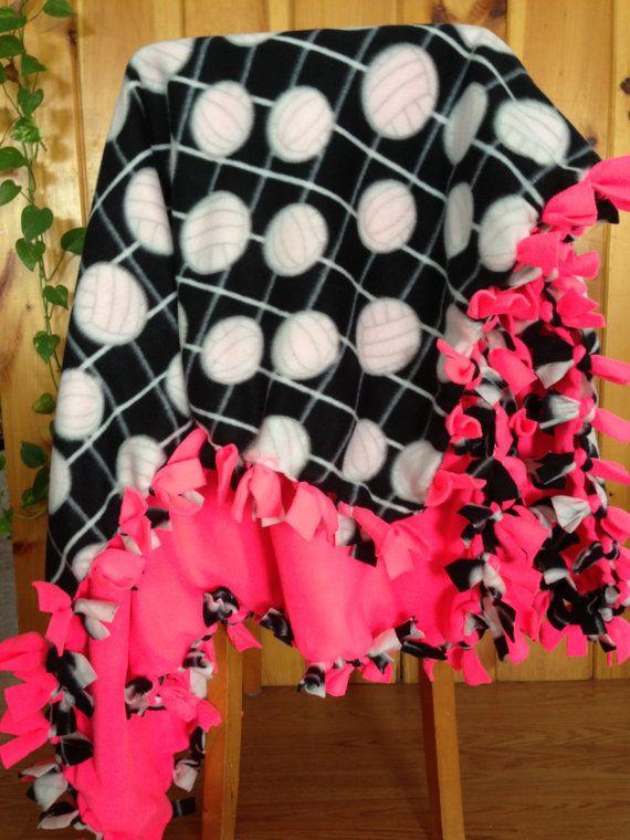 Hand Tied Fleece Black Volleyball Blanket/Throw by AbbieJude, $35.00