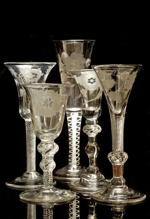 Jacobite drinking glasses ~ Hand blown and engraved glass ~18th Century.