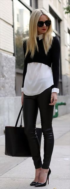 I love the look of the cropped sweater with a button-up or flouncy shirt underneath! I love those leggings too, but I don't think I could pull them off...