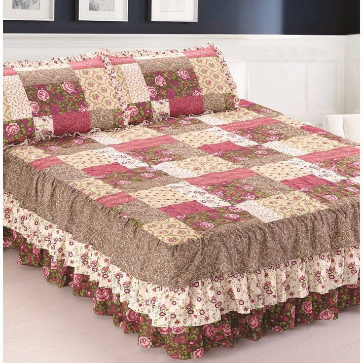 Pegasus Slumber Shop Kingston Triple Ruffle Bedspread and Sham Set