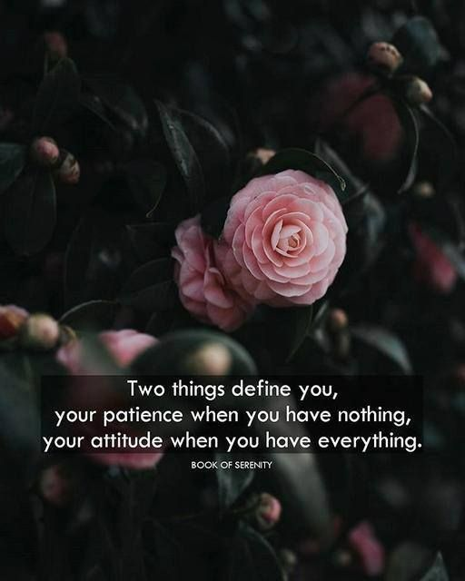 Two things define you. Your patience when you have nothing. Your attitude when you have everything.