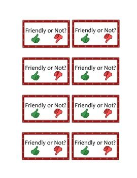 Social Language- Friendly or Not? Game Cards- FREE Printable task cards to talk about or explain why behaviors are friendly or not.