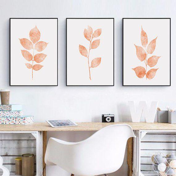Printable Wall Art Set Of 3 Home Print Wall Art Coral Color Home
