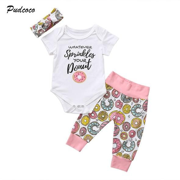 3PCS Newborn Infant Baby Boys Girls Romper Bodysuit Pants Leggings Outfits Set