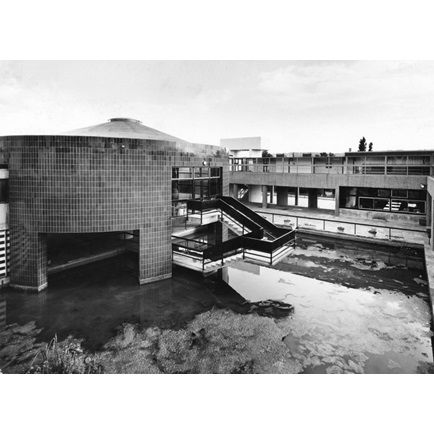 Salt Grammar School, Shipley, West Yorkshire: the small hall and the ornamental pool seen from the upper terrace | RIBA