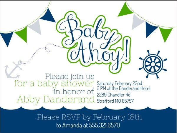 Baby Ahoy! Baby Shower Invitations For A Beach Or Nautical Baby Shower.  Colors Are