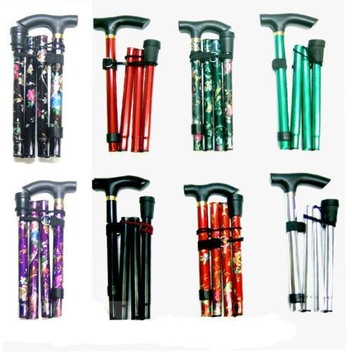 Easy Adjustable Folding Cane Flower Style & Plain Design Walking Stick UK Seller | eBay