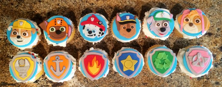 Paw Patrol Cupcakes. Toppers from: Sugareduptoppers.com They were beautiful and yummy!!!