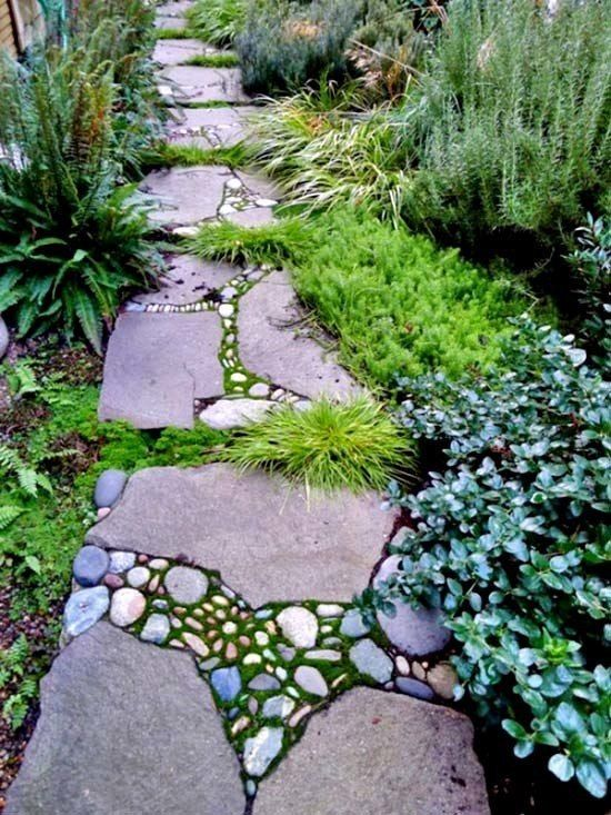 40+ Brilliant ideas for stone pathways in your garden. Nice, but again, not a week end project ;)