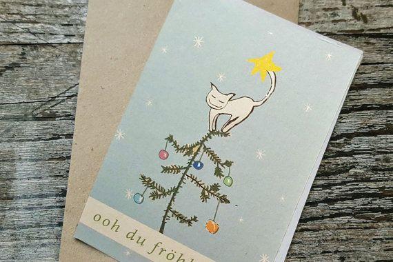 weihnachtskarte für katzenliebhaber von superbuntes auf Etsy