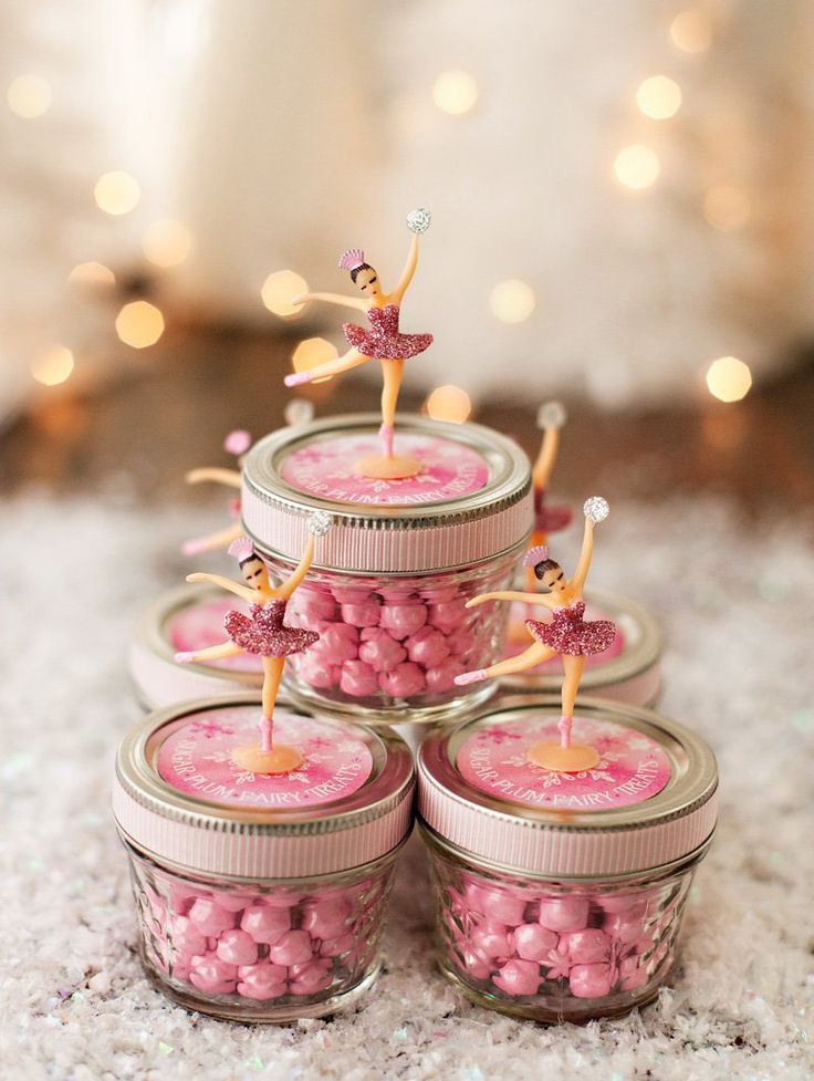 Pink Sugar Plum Fairy Favor Jars