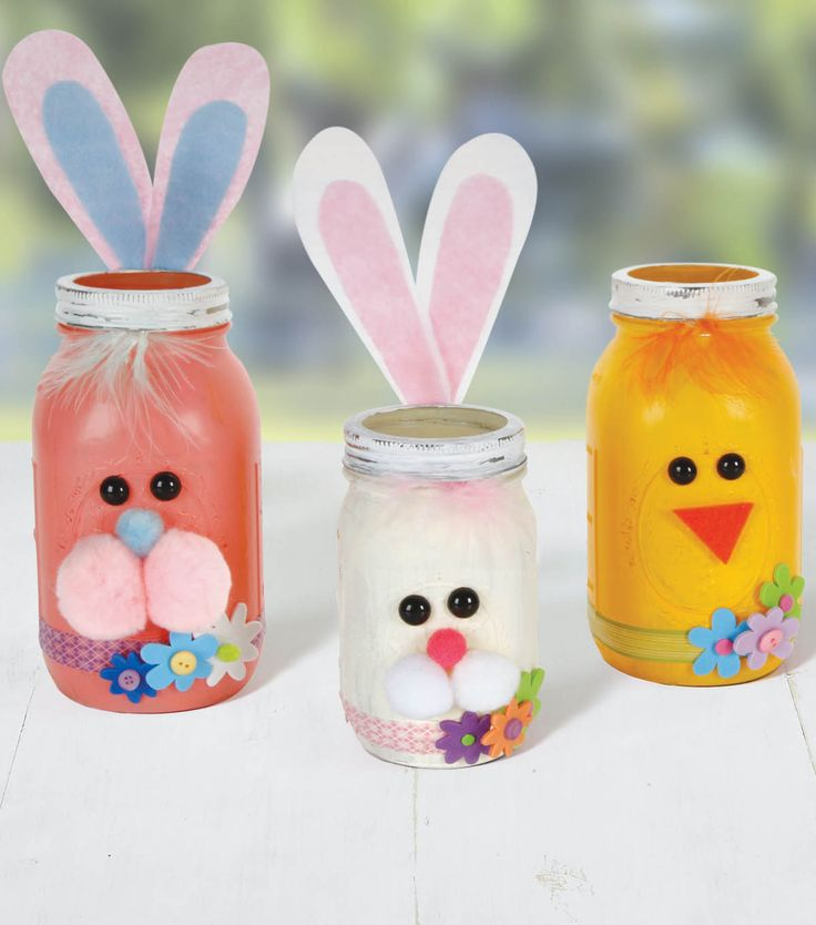 297 best mason jar crafts with joann images on pinterest mason chick and bunny treat mason jars from joann easter craftseaster ideaskids negle Choice Image