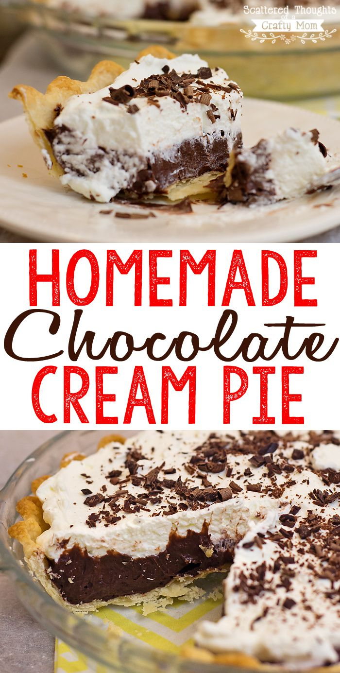 This Homemade Chocolate Cream Pie Recipe is so chocolatey, creamy and delicious! You will be surprised at how easy it is to make.