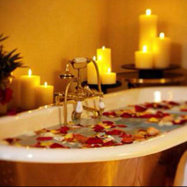Romantic candle lit bath, water, calming, love light , red ...