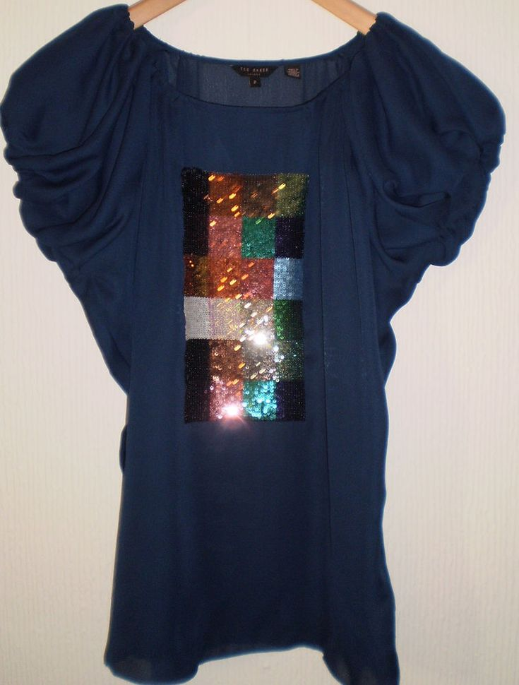 Ted Baker Stunning Blue Multi Colours Sparkly Sequins Party Tunic Top Size 10