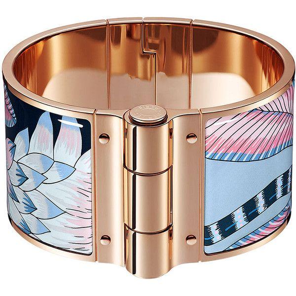 Hermès Charniere Savana Dance Bracelet ($840) ❤ liked on Polyvore featuring jewelry, bracelets, enamel bangle, bangle bracelet, enamel jewelry, bracelets bangle and rose jewelry