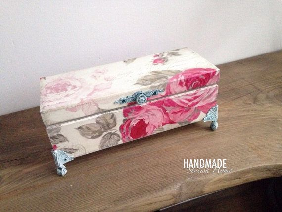 shabby chic pink roses tea box tea box by HandmadeStylishHome