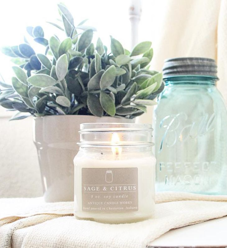 Sage & Citrus: An earthy blend of lemon, lime, and sage. A lovely fragrance for any time of the year! Beautiful handmade scented soy mason jar candles - decor for the vintage inspired modern farmhouse home.