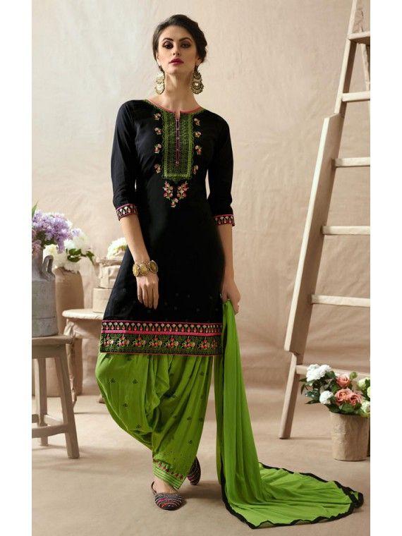Dilettante Black and Parrot Green Patiala Salwar Kameez