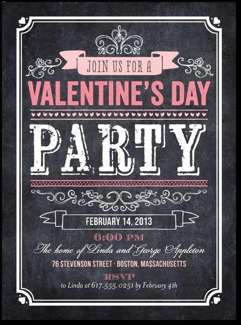 Chalkboard Inspired Valentine's Party Invite