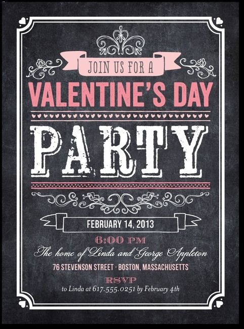 Chalkboard Inspired Valentine's Party Invite