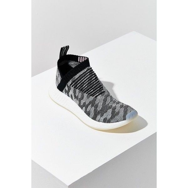 adidas NMD CS2 Primeknit Slip-On Sneaker ($180) ❤ liked on Polyvore featuring shoes, sneakers, slip on sneakers, slip-on shoes, mesh shoes, mesh trainers and adidas