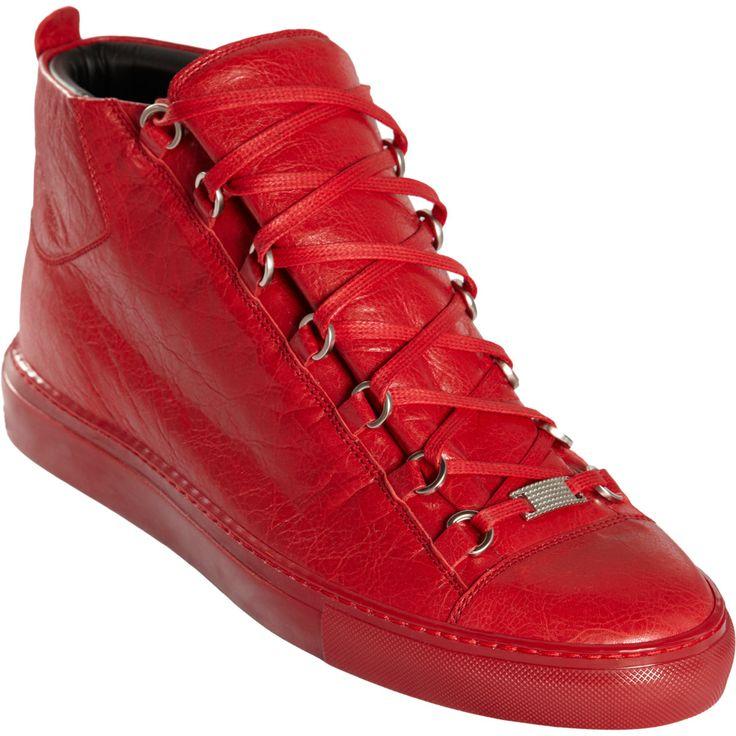 Balenciaga Arena Sneakers Men | Balenciaga Arena Leather High Top Sneakers in Red for Men
