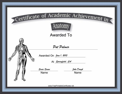 This free, printable certificate of academic achievement in anatomy has a picture of the human musculoskeletal system and is great for medical interns and physical therapy aides. Free to download and print