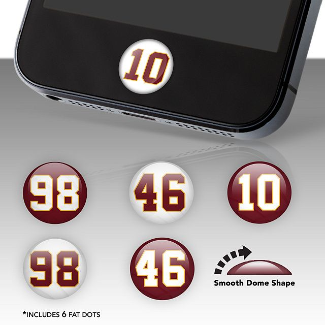 Washington Redskins Player Number Fat Dots | Washington Nationals Phone Accessories | Home Button Accessories