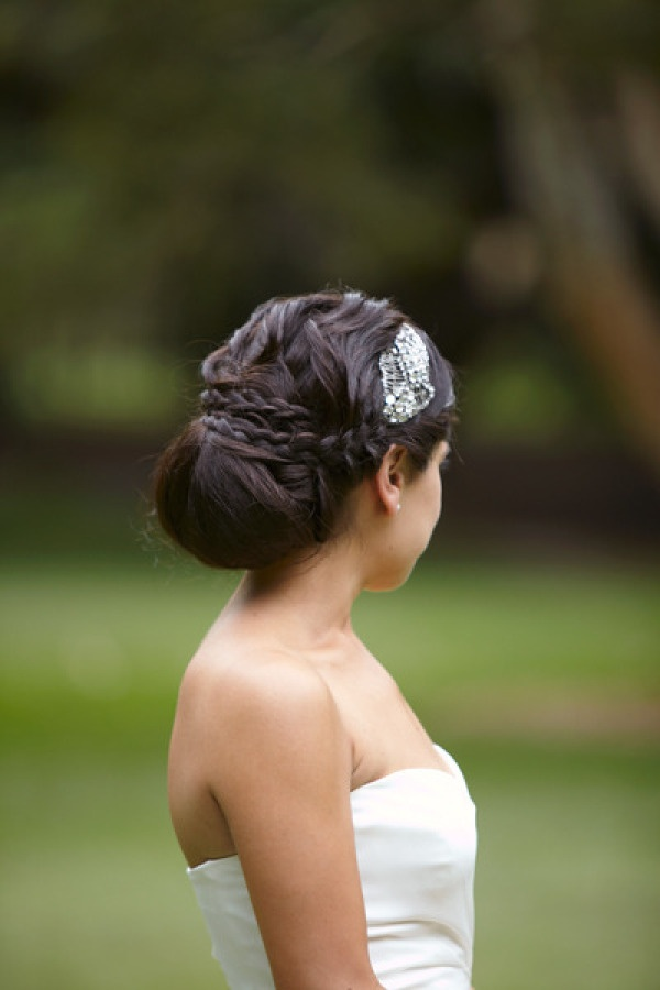 Pretty combo of #braid #bun and #hair accessory on @Style Me Pretty Australia / Photography by http://milkandhoney.com.au