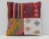 bohemian cushion 16x16 DECOLIC small throw pillow tapestry throw pillow patchwork pillow decorative area rug pillow 15488 kilim pillow 40x40