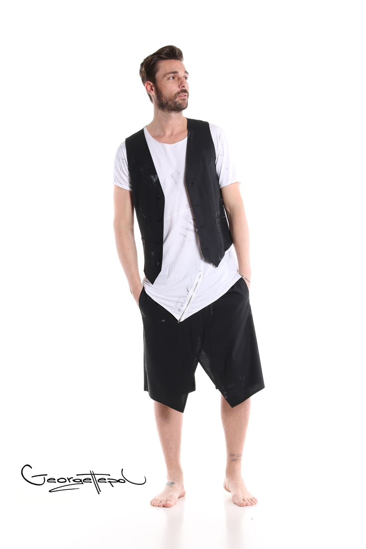 Vest black canvas - Long white t-shirt - Bermuda black canvas #bermuda #canvas #fashion #man #painted #summer #vest #black #iammyself #tshirt #white #black #style #georgettepol