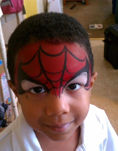 Spiderman Face Paint to avoid mouth area