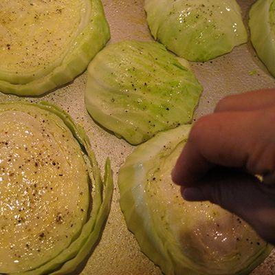 Garlic rubbed cabbage