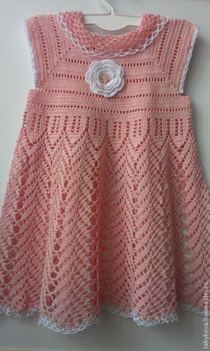 """Купить Платье для девочки """"Нежность"""". - бледно-розовый, однотонный, вязанное платье, для девочек, нарядное платье"""