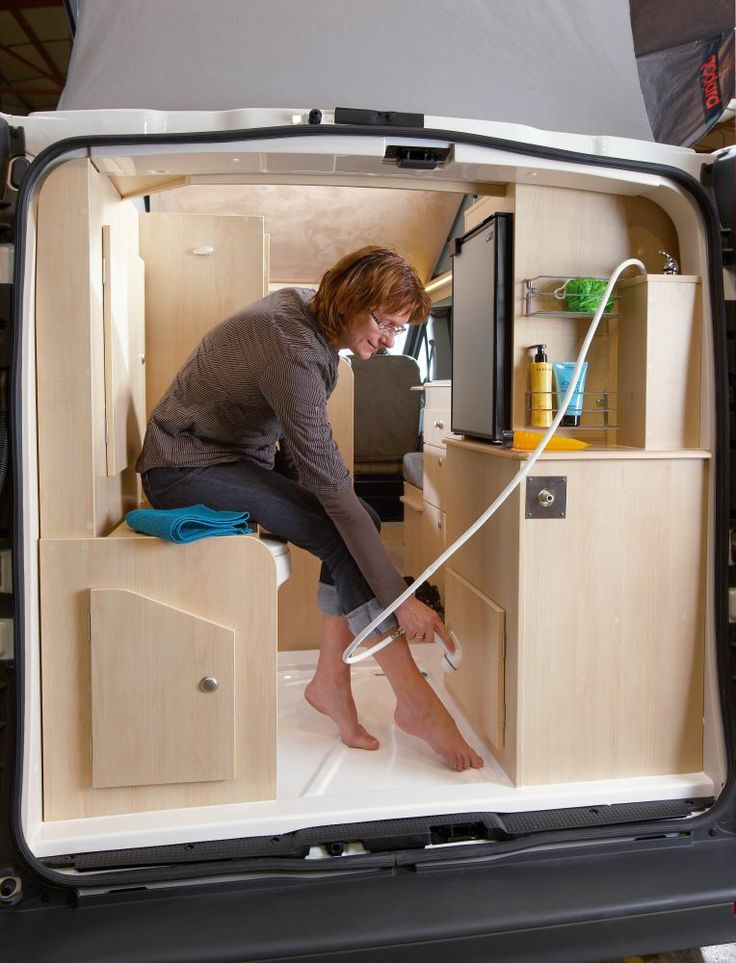 Sit down shower in the back of a renault trafic camper for Sit down shower tub