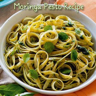 Moringa Pesto with Whole Wheat Pasta Recipe - make instead with gf pasta. - experimental foods project?