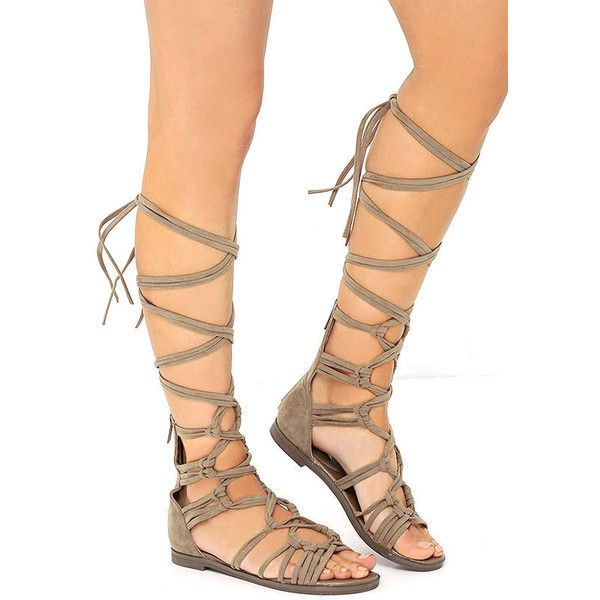 First Empress-ion Beige Suede Lace-Up Gladiator Sandals (8.980 HUF) ❤ liked on Polyvore featuring shoes, sandals, suede sandals, tie gladiator sandals, laced up gladiator sandals, zipper sandals and long gladiator sandals