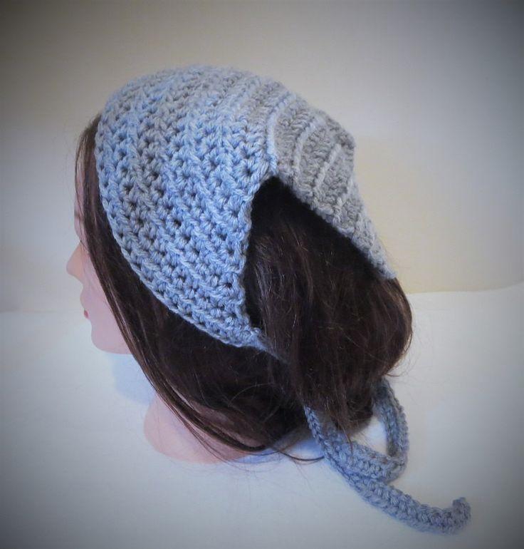 Gray Kerchief, Gray Crochet Bandana, Gray Hood Du-rag, Crochet Head Scarf, Tie on Kerchief, Crochet Kerchief, Gray Head Covering by TiStephani on Etsy