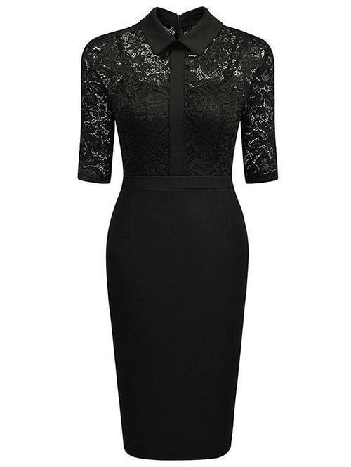 Floral Lace Panel See Thru Pencil Dress - BLACK XL