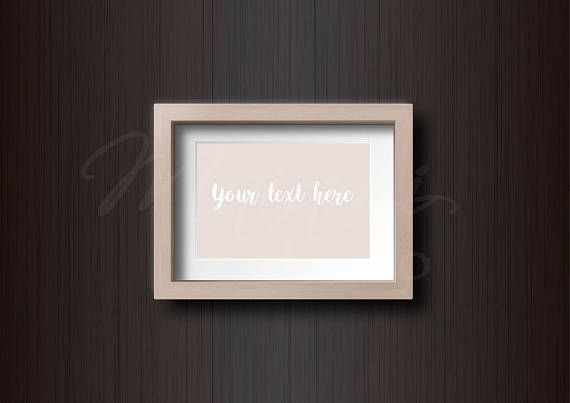 Wood Frame Mockup Dark Wood Background Styled Photography