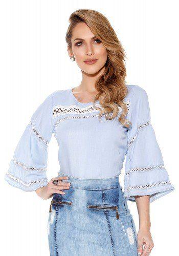 44b9dbfd32 Camisa Feminina Jeans Gola Polo Titanium Jeans - TTN24165 ...