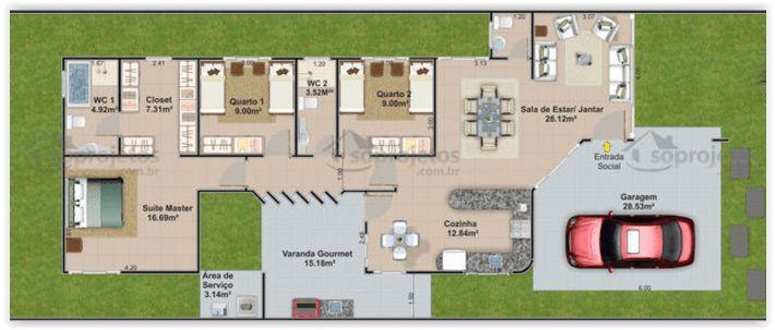 planta de casa 3 quartos com closet